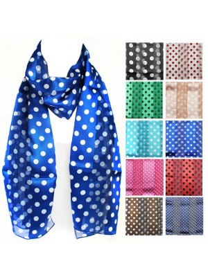 Ladies Satin Scarf - Mixed Polka Dot Design