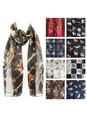 Ladies Satin Scarf - Mixed Animal Design Wholesale