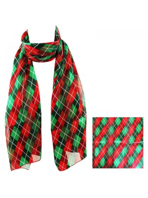 Ladies Satin Scarf - Romb Pattern (Red/Green) Wholesale
