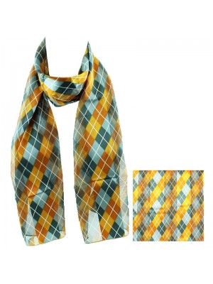 Ladies Satin Scarf - Romb Pattern (Yellow/Grey) Wholesale