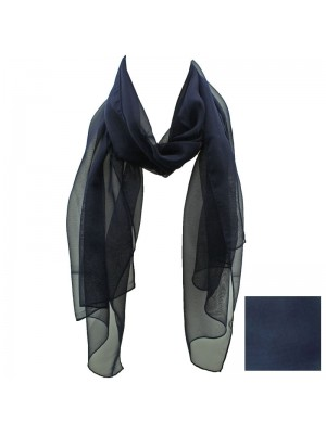 Ladies Plain Chiffon Scarf - Navy
