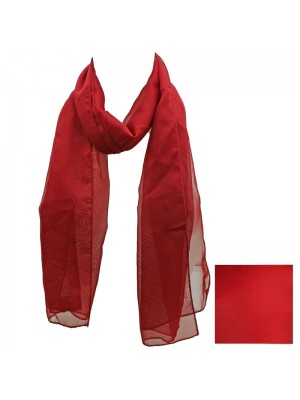 Ladies Plain Chiffon Scarf - Red Wholesale