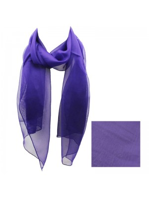 Ladies Plain Chiffon Scarf - Purple