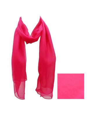 Ladies Plain Chiffon Scarf - Fuschia Pink Wholesale