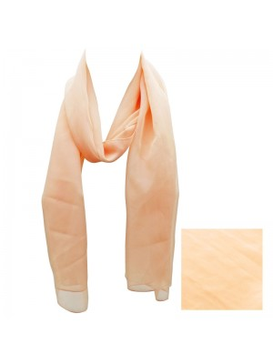 Ladies Plain Chiffon Scarf - Peach Wholesale