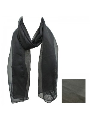 Ladies Plain Chiffon Scarf - Black Wholesale