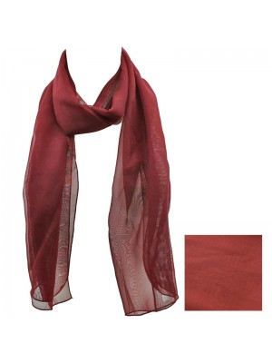 Ladies Plain Chiffon Scarf - Maroon Wholesale