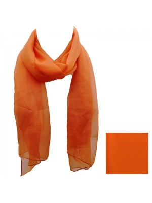 Ladies Plain Chiffon Scarf - Orange Wholesale