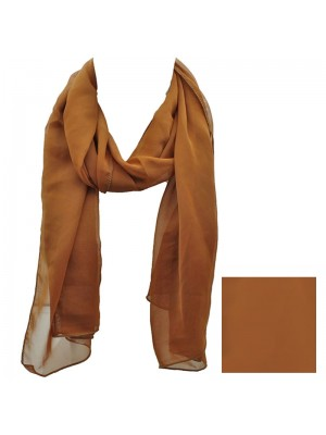 Ladies Plain Chiffon Scarf - Brown Wholesale