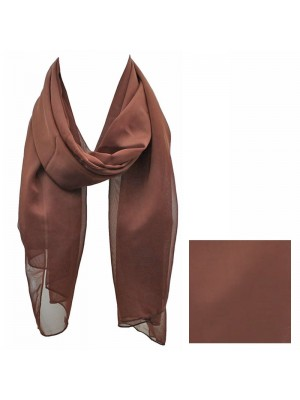 Ladies Plain Chiffon Scarf - Dark Brown Wholesale
