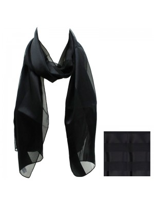 Ladies Satin Stripe Scarf - Black Wholesale