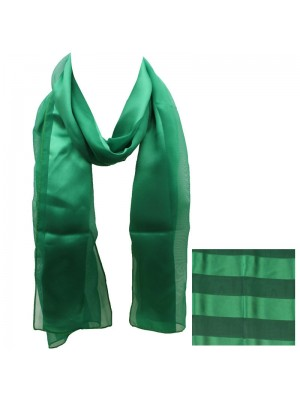 Ladies Satin Stripe Scarf - Green Wholesale