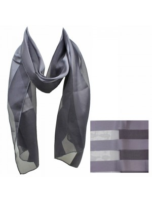 Ladies Satin Stripe Scarf - Dark Grey Wholesale
