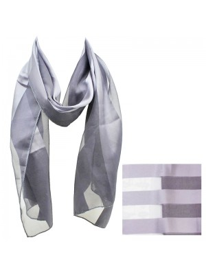 Ladies Satin Stripe Scarf - Light Grey Wholesale