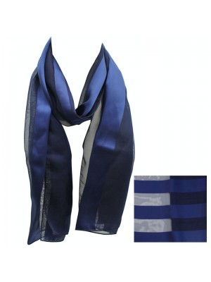 Ladies Satin Stripe Scarf - Navy Wholesale