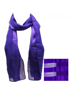 Ladies Satin Stripe Scarf - Purple Wholesale