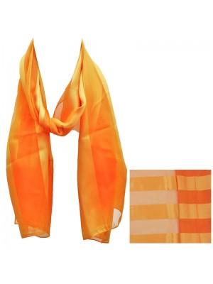 Ladies Satin Stripe Scarf - Orange Wholesale