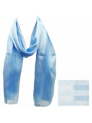 Ladies Satin Stripe Scarf - Light Blue Wholesale