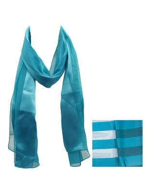 Ladies Satin Stripe Scarf - Turquoise Wholesale