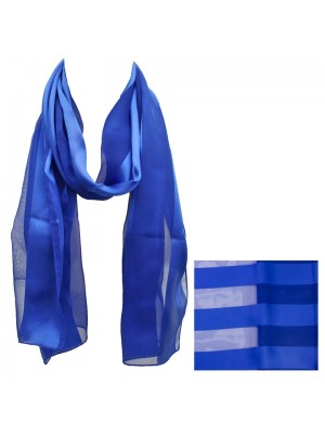 Ladies Satin Stripe Scarf - Royal Blue Wholesale