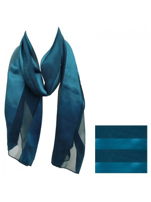 Ladies Satin Stripe Scarf - Teal