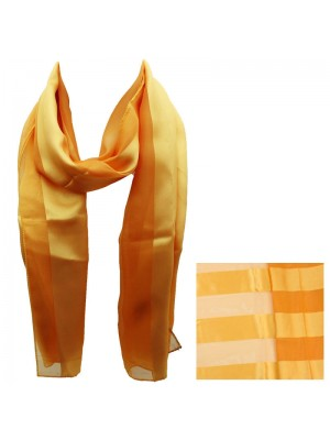 Ladies Satin Stripe Scarf - Gold Wholesale