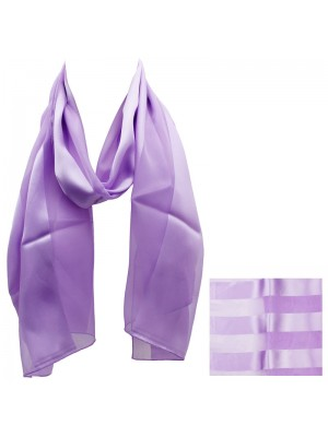 Ladies Satin Stripe Scarf - lilac Wholesale