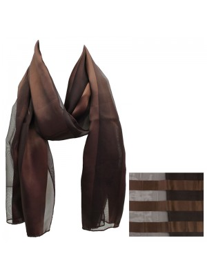 Ladies Satin Stripe Scarf - Chocolate Wholesale