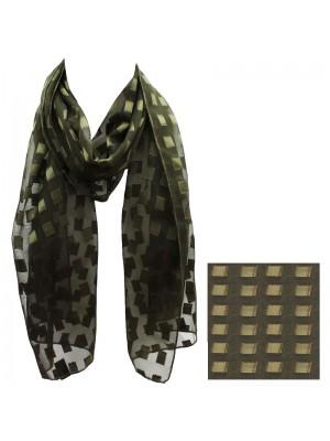 Ladies Lurex Square Patch Scarf - Khaki Wholesale