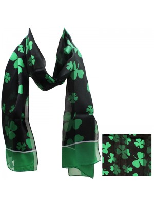 St. Patrick's Day Shamrock Design Satin Stripe Scarves - Black & Green