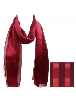 Ladies Satin Stripe Scarf - Maroon Wholesale