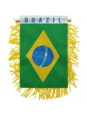 Brazil Mini Banner Flag - 10cm x 13cm Wholesale