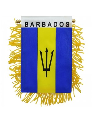Barbados Mini Banner Flag - 10cm x 13cm Wholesale