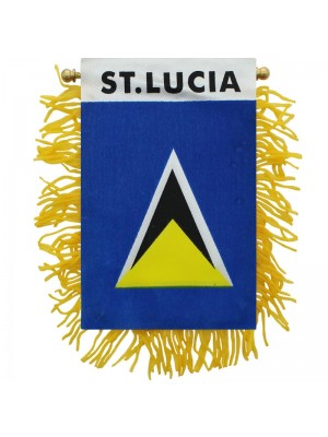 St.Lucia Mini Banner Flag - 10cm x 13cm Wholesale
