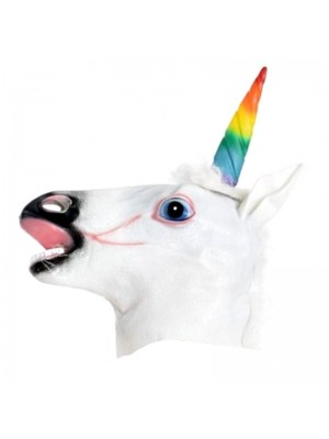 Unicorn Head Mask with Rainbow Horn