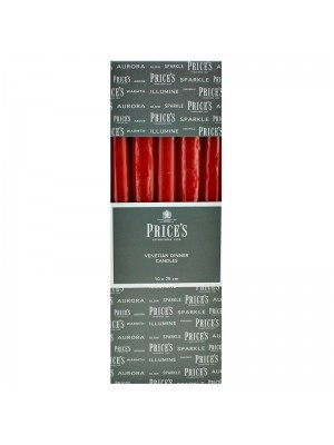 Price's Candles - Venetian Wrapped Dinner Candles (Red) Wholesale