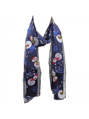 Ladies Satin Stripe Snow Man Print Scarf - Blue Wholesale