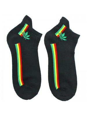 Wholesale Rasta Stripes and Leaf Print Trainer Socks - Black