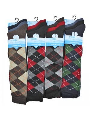 Men's Fresh Feel Cotton Lycra Golf Socks (Assorted Colours) Wholesale