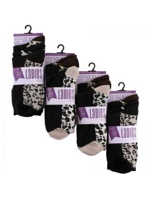 Wholesale Ladies Animal Printed Socks (3 Pair Pack) - Asst.