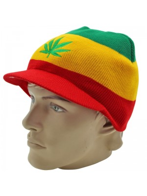 Unisex Rasta Coloured Knitted Peak Hat Wholesale