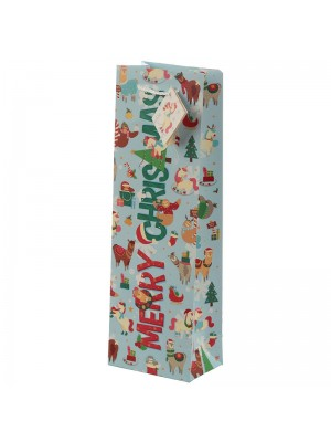 Festive Friends Christmas Animals Bottle Gift Bag (37cm x 12cm x 8cm) Wholesale