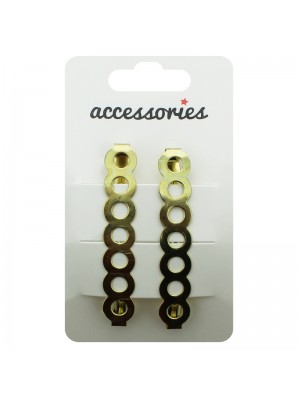 Circle Design Barrette Clip - Gold