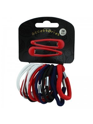 Elastic and Hair Snap Set - Assorted Colours