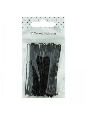 Waved Hair Grips - Black (6.5cm)