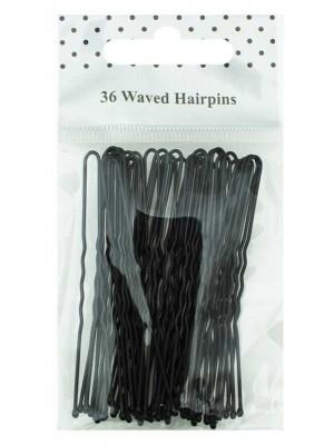 Wholesale Waved Hair Grips - Black (6.5cm)