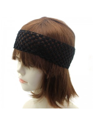 Plain Crochet Design Headbands - Black