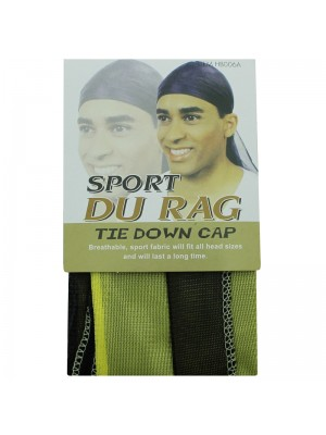 Sport Durags - Tie Down Cap (Black/Yellow)