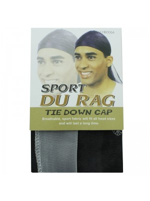 Sport Durags - Tie Down Cap (Black/Grey)