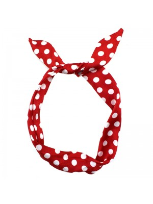 Polka Dot Bendy Headwrap - Red